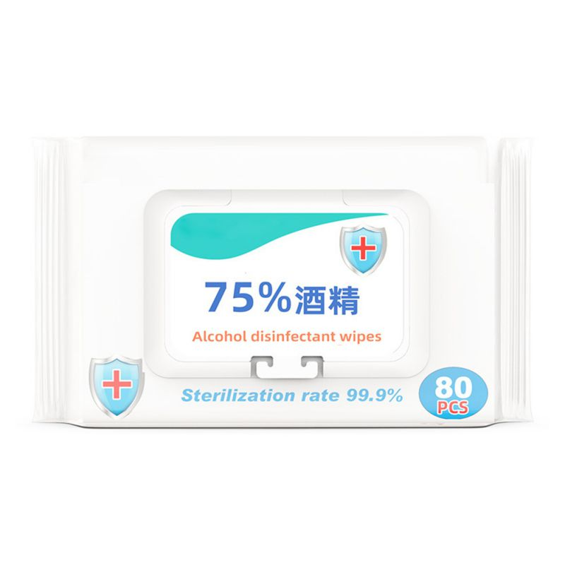 75% Disinfection Wipes Large Bags Sterilizing Wipes Disinfection Household Bacteriostatic Portable Wipes 80 Pumps