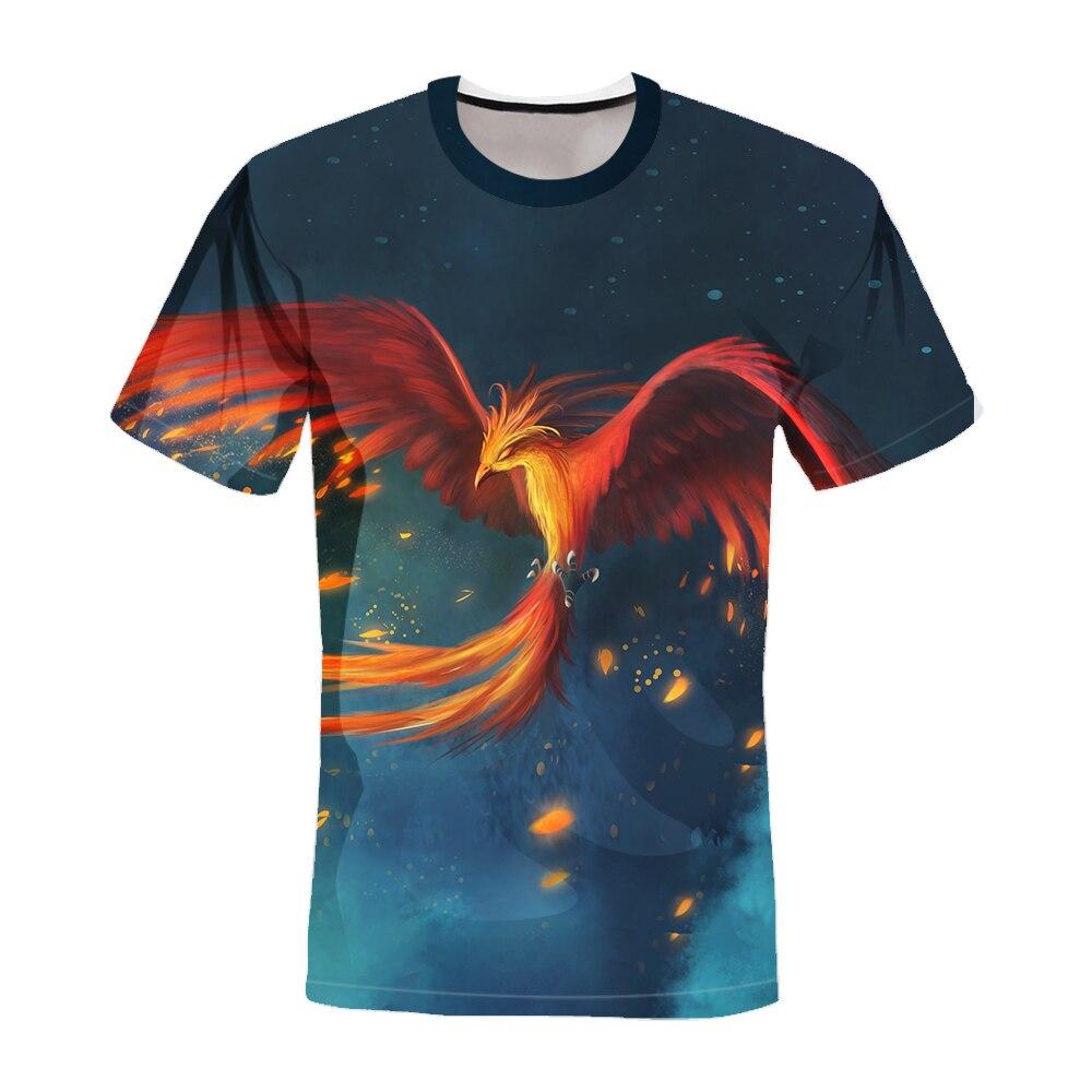 2021 Summer new men's shirts creative fantasy phoenix and dragon men's tide brand short-sleeved 3D digital printing T-shirt