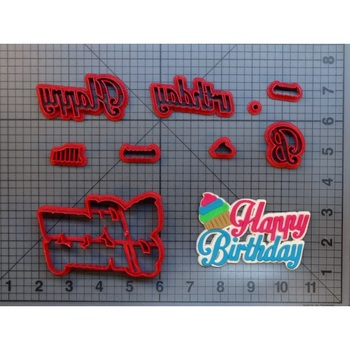 Letter Happy Birthday Font Cookie Cutter Set Fondant Cupcake Top Moulds Custom Made 3D Printed Kitchen Accessories Cake Cutter custom made 3d printed star wars logo fondant cookie cutter set