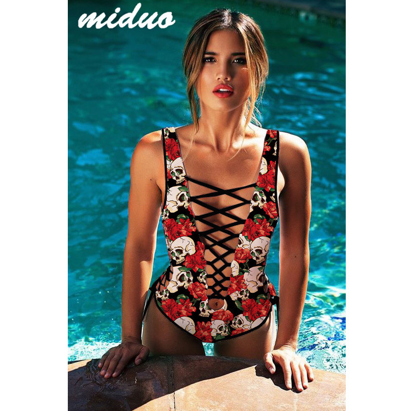 Amazon New Products Skull Digital Printing Triangle Bikini Sexy Deep V Bandage Cloth V-neck One-piece Swimming Suit Fashion