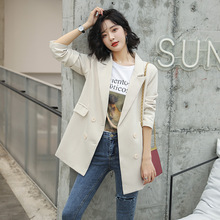 Blazer feminino double-breasted long-sleeved solid color suit with high quality Womens blazer High office jacket female
