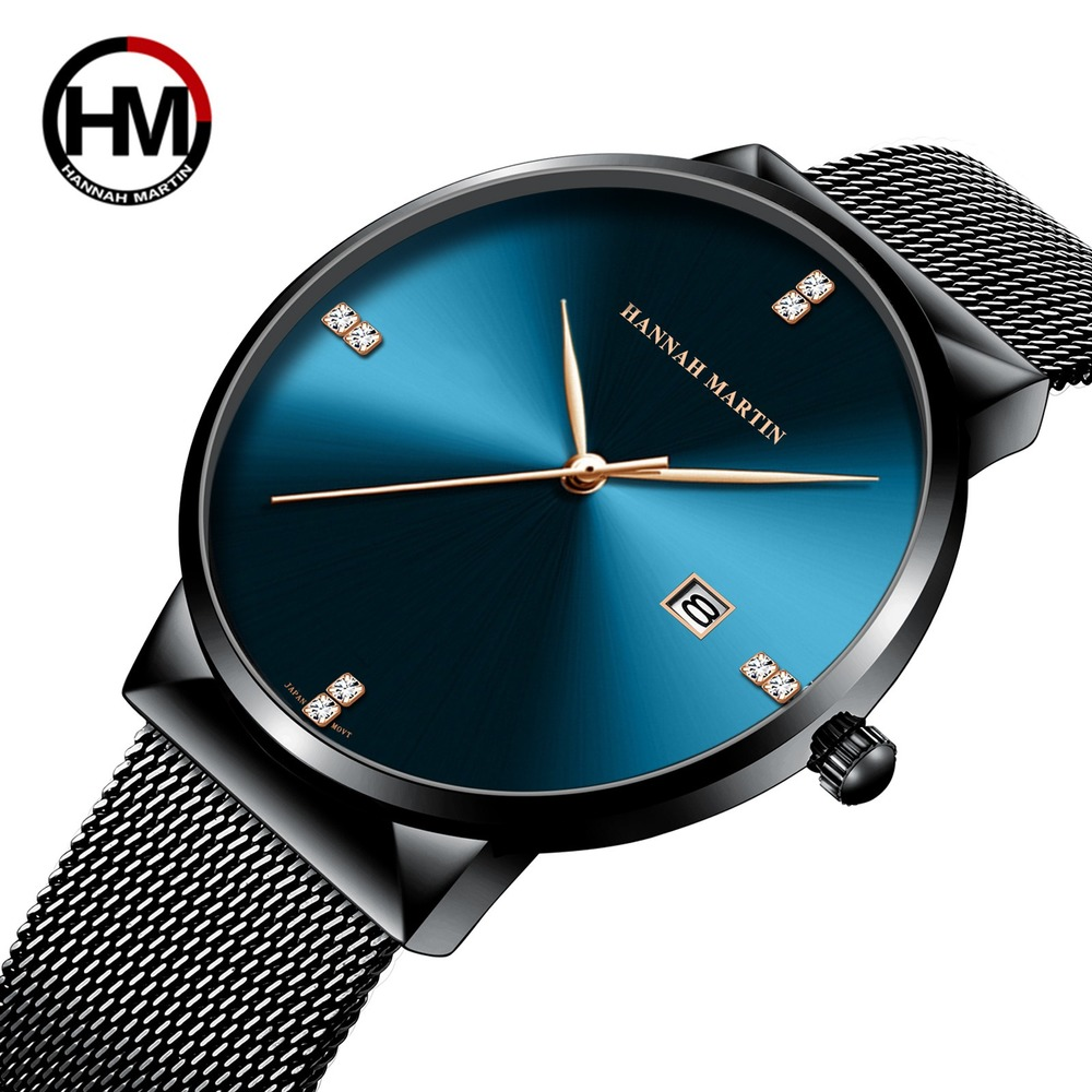 Hannah Martin Minimalism Watch Men Business Quartz Watches Men Stainless Steel Mesh Men's Watch Erkek Kol Saati Clock