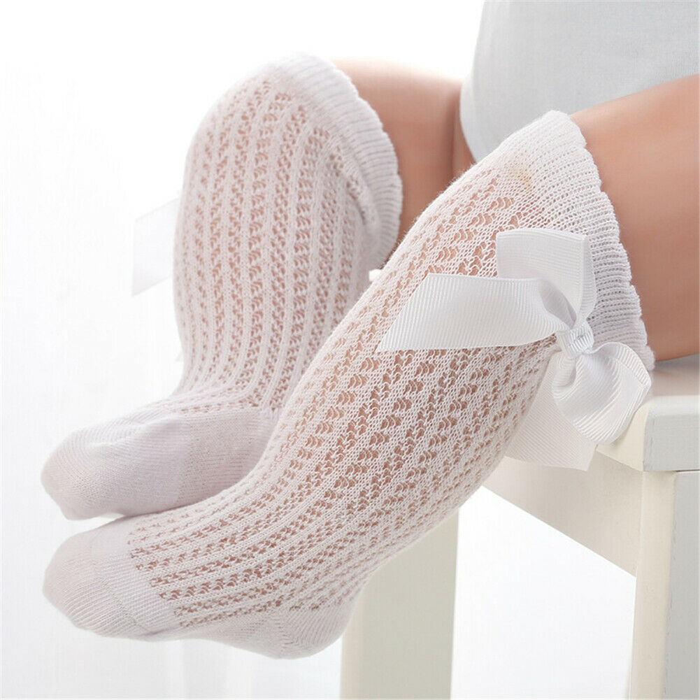 Baby Infants Kids Toddlers Girls Boys Knee High Socks Tights Leg Warmer Ribbon Bow Solid Cotton Stretch Cute Lovely 0-3Y