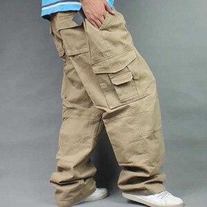 Image 3 - Брюки мужские с широкими штанинами в стиле хип хоп, повседневные хлопковые брюки карго, Свободные мешковатые штаны, уличная одежда, мужские джоггеры