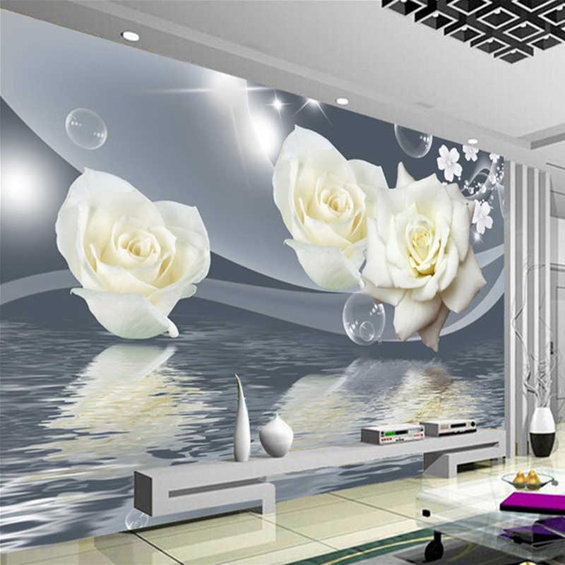 Diantu مخصص ثلاثية الأبعاد جداريات خلفية اللوحة جدار فن الديكور غرفة المعيشة الحديثة التلفزيون خلفية صور ورق حائط زهرة الورد