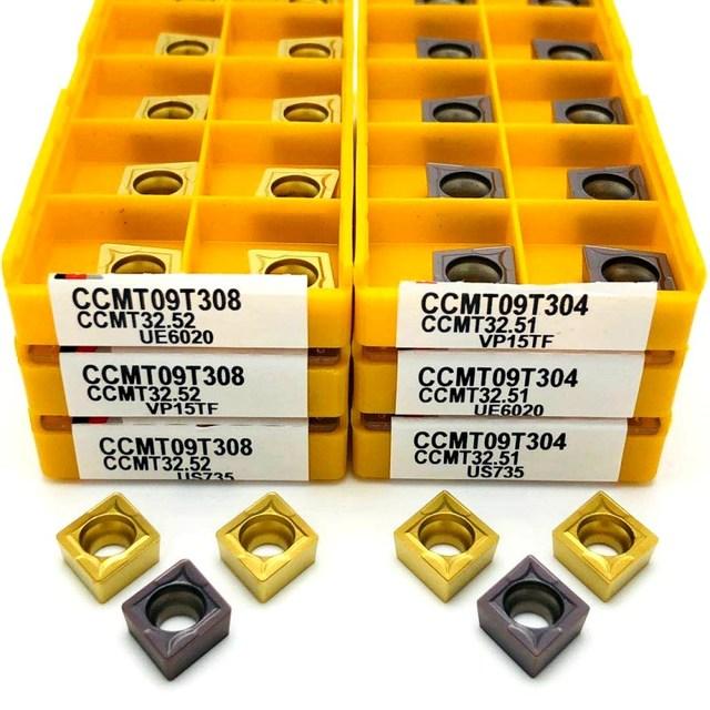 Inserto de carburo CCMT09T304 VP15TF UE6020 US735 herramienta de torneado de metal, herramienta de torno, fresa facial, herramienta CNC CCMT 09T308
