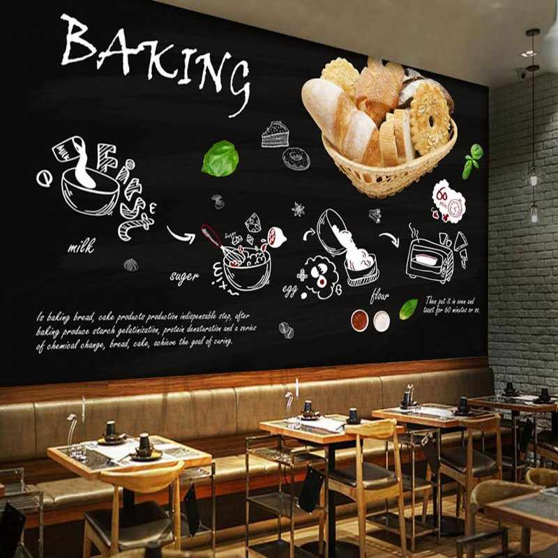 Fondo de pantalla negro pintado a mano panadería pastel tienda papel pintado cocina restaurante papel pintado Cocina