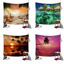 цены на Lychee Coconut Palm Beach Painting Wall Hanging Tapestry Polyester Blanket Art Wall Carpet Home Decorative Tapestry  в интернет-магазинах