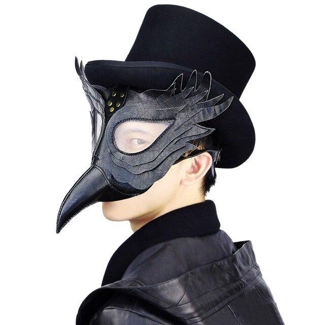 Halloween Steampunk Plague Doctor Mask White/Black Latex Cosplay Bird Beak Masks Long Nose Party Event Ball Costume Props 1