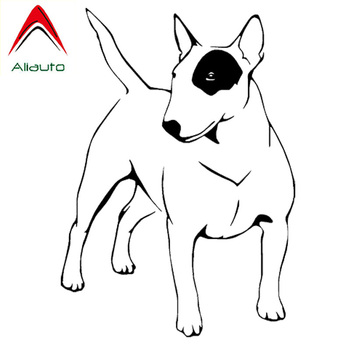 Aliauto Endearing Car Stickers English Bull Terrier Dog Automobile Styling Truck Vinyl Decal Decoration Black/Silver,11cm*16cm image