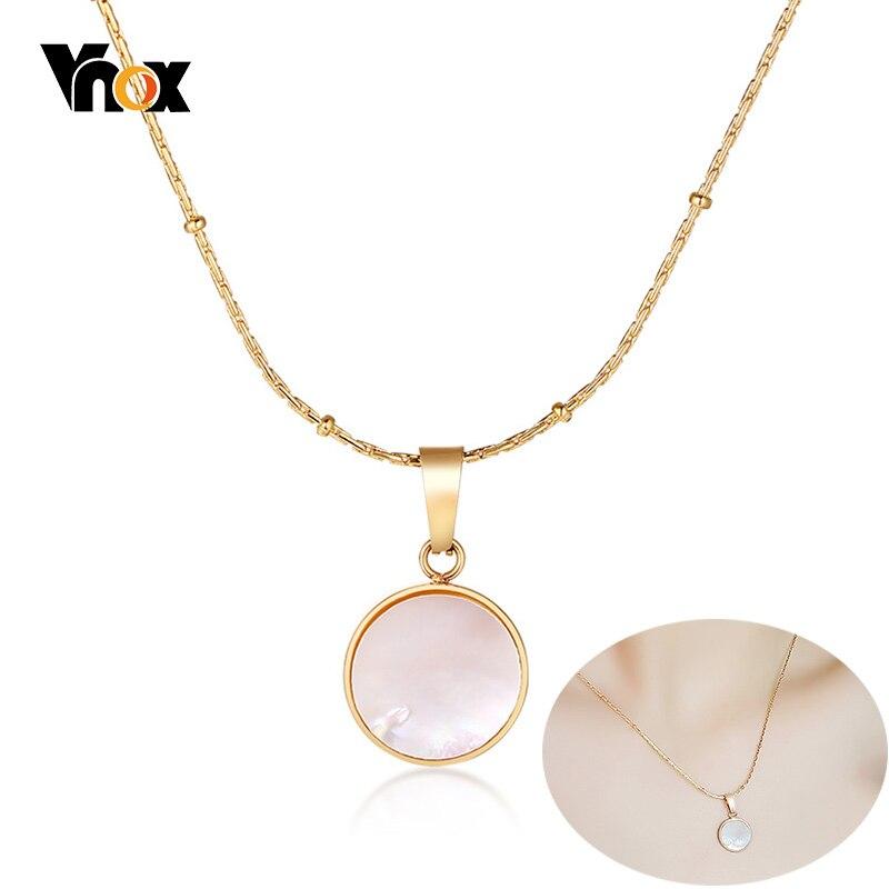 Vnox Elegante Shell Anhänger Halsketten für Frauen Gold Farbe Edelstahl K 18 Tag Kette Geburtstag Party Geschenke Schmuck