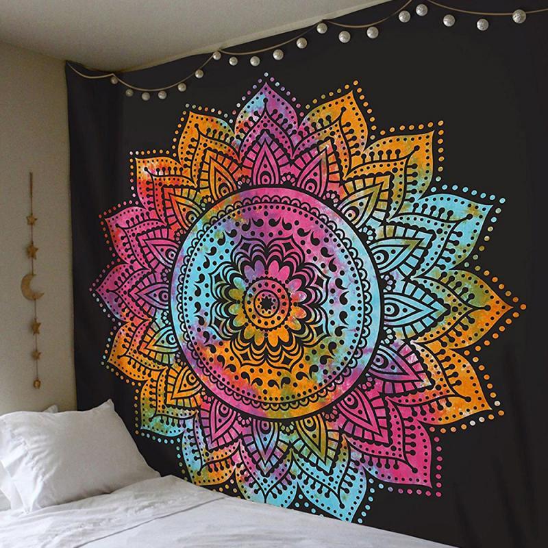 230*180cm Mandala Indian Tapestry Wall Hanging Bohemian Beach Towel Polyester Thin Blanket Yoga Shawl Mat Blanket