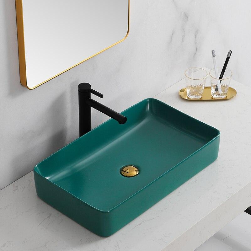Malachite Green Above Counter Basin Bathroom Grey Ceramic Wash Basin Household Light Luxury Art Basin Hotel Wash Basin