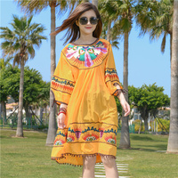 Plus Size Summer Holiday Beach Dress Vintage New 2019 Embroidery Cotton Floral Tassel Lantern Sleeve Yellow Women Loose Dress