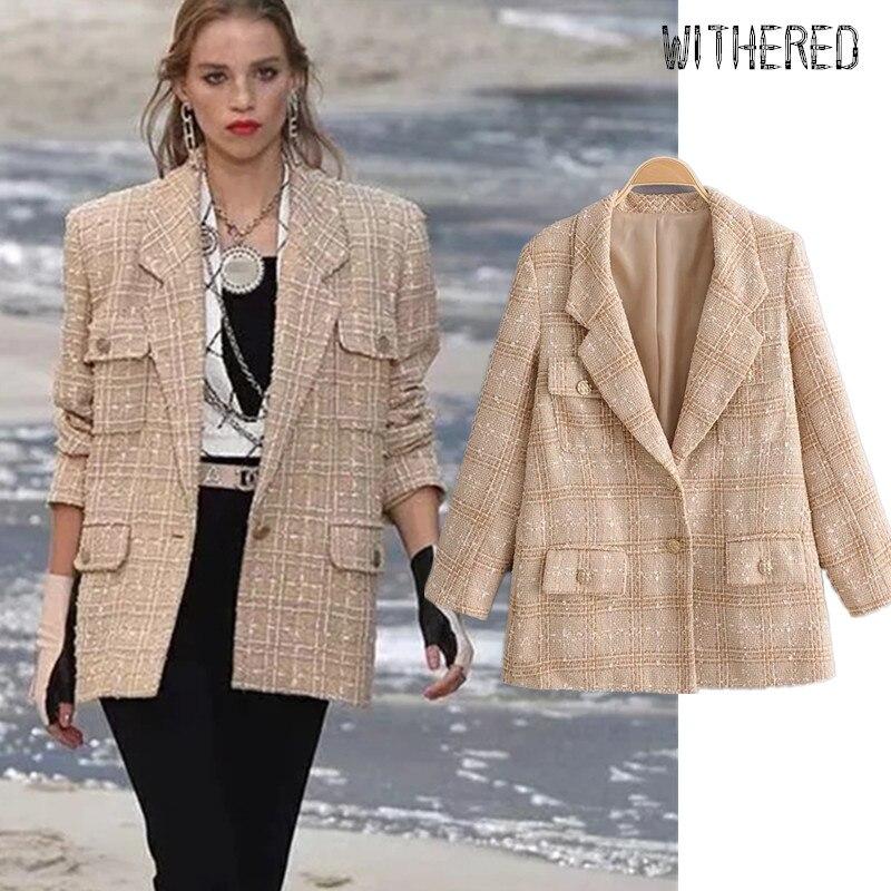 Withered Runway Enlgand Vinatge Oversize Woollen Cloth Blazer Feminino Blazer Women Blazer Mujer 2019 Women Blazers And Jackets