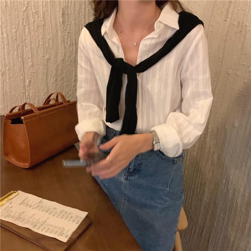 H8bf0303115034e43ae4395366381752d9 - Spring / Autumn Turn-Down Collar Long Sleeves White Striped Blouse