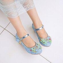 Детская обувь Осенняя принцесса обувь Лук Стразы Дети платье свадебная обувь Повседневные кроссовки для девочек от 2 до 12 лет
