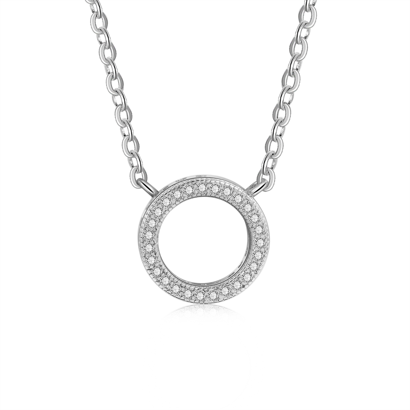 Cubic Zirconia Round Pendant 925 Sterling Silver Pendants Necklaces For Women