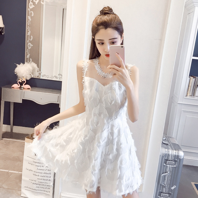 New Fashion Ladies Feather Tassel Embroidered Lace Vest Dress Fashion Sexy Temperament Girl Party Casual Beach Dress 2