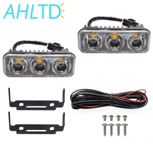 2pcs DC 12V Auto Durable Car Daytime Running Light 3LED Aluminum DRL Daylight Super White Head Driving Lamp Parking Fog Lights