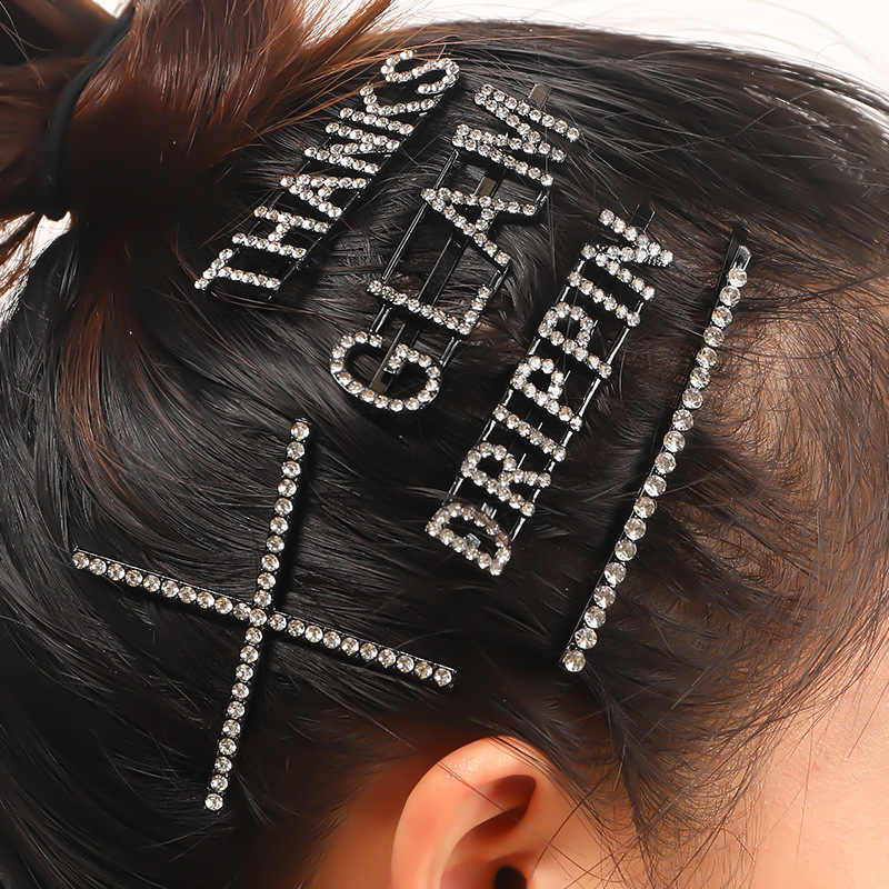 GLAM DRIPPIN X THANKS Crystal Shiny Rhinestone Hairpin Letter Hair Clips Barrettes Hair Styling black Accessories for Women Girl