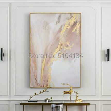 Hand painted Abstract Gold and Pink Color Oil Paintings Modern Canvas Painting Wall Painting for Living Room home Decoration