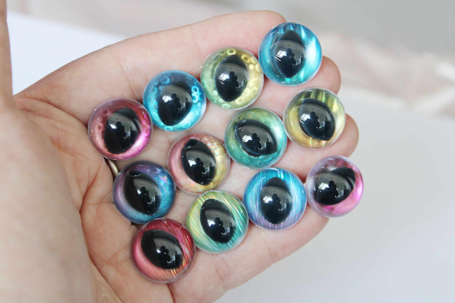 100pcs-13-14-15-18-25mm chiaro di sicurezza occhi di gatto + tessuto + duro rondella per burattino fai da te artigianato --- opzione di dimensione