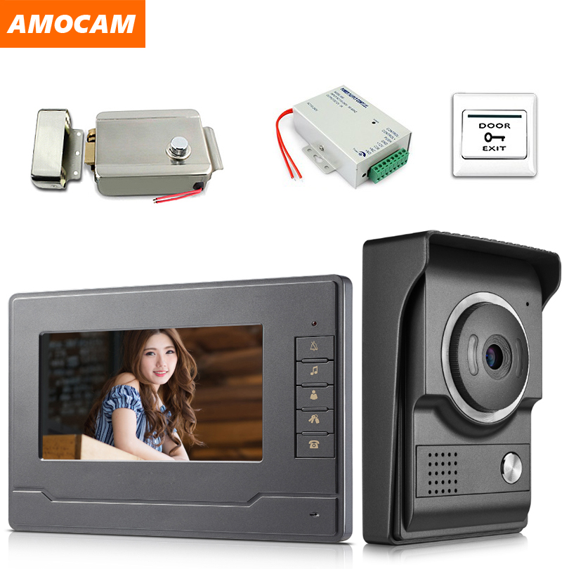 7 Inch Monitor Video Door Phone Doorbell System Video Intercom Kits With Electric Lock + Power Control + Exit For Home Villa