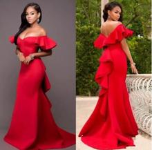 Hot Sale Red Prom Dresses With Off The Shoulder Ruffles Mermaid Evening Gowns Custom Made Stain vestidos de fiesta noche