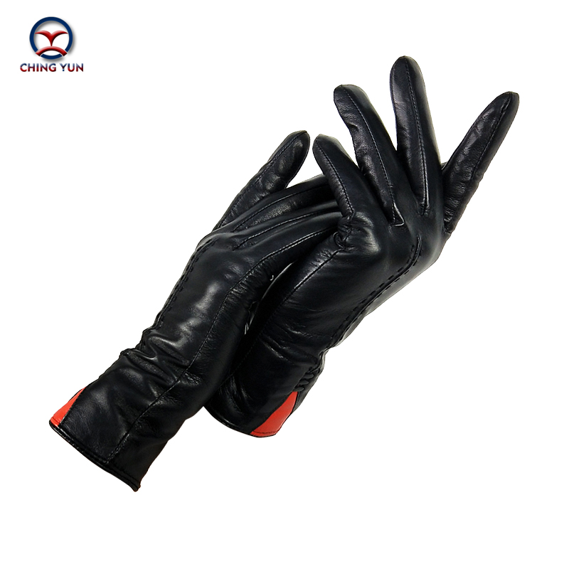 CHING YUN  New Women Gloves Genuine Leather Winter Autumn Ladies Fashion Brand High Quality Goat Skin Warm Leather Gloves Women