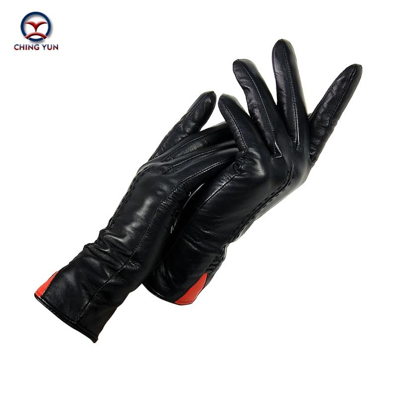 CHING YUN  New Women Gloves Genuine Leather Winter Autumn Ladies Fashion Brand High Quality Goat Skin Warm Leather Gloves Women
