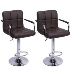 2шт барный стул досуг кожаный поворотный барный стул стулья регулируемое кресло с подлокотниками домашний офис кухонное кресло