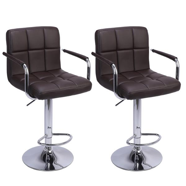 2pcs Bar Chair Leisure Leather Swivel Bar Stools Chairs Adjustable Bar Chair With Armrest Home Office Kitchen Chair