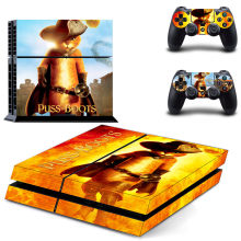 Puss in Boots Stickers PS4 Skin Vinyl PS 4 Sticker Play station 4 Decals Pegatinas Voor PlayStation 4 console en 2 controller(China)