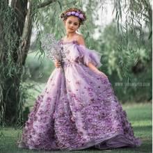 Flor roxa vestidos da menina para o casamento cintas de espaguete 3d floral appliqued little kids pageant vestidos a linha vestidos de desfile