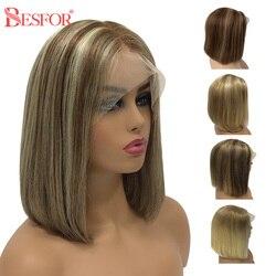 Peluca Bob corto Highlight U parte de pelo humano Ombre 4x4 Cierre pelucas Bob color Pre desplumado sin pegamento Remy con pelo de bebé para mujeres