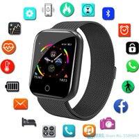 الفولاذ المقاوم للصدأ ساعة ذكية الرجال النساء Smartwatch ل أندرويد IOS إلكترونيات ساعة ذكية جهاز تعقب للياقة البدنية ساحة الطلب الذكية ساعة-في الساعات الذكية من الأجهزة الإلكترونية الاستهلاكية على