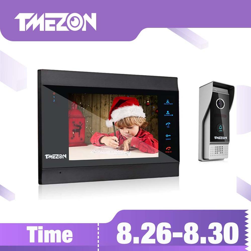TMEZON 7 pouces sans fil WiFi intelligent IP système d'interphone vidéo avec 1x1200TVL filaire sonnette caméra, Support déverrouillage à distance