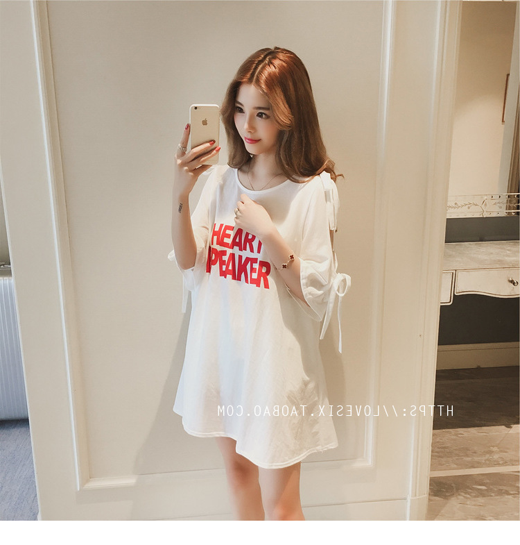 Summer Sexy Off-Shoulder Nightgown Women's New Style Short Sleeve Short Skirt Lettered Pajamas Women's Summer-Outer Wear Tracksu