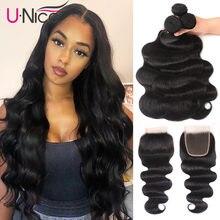 Mèches brésiliennes naturelles Remy Body Wave – Unice Hair, 4x4 pouces, avec Closure, partie libre, pre-plucked, extension de cheveux