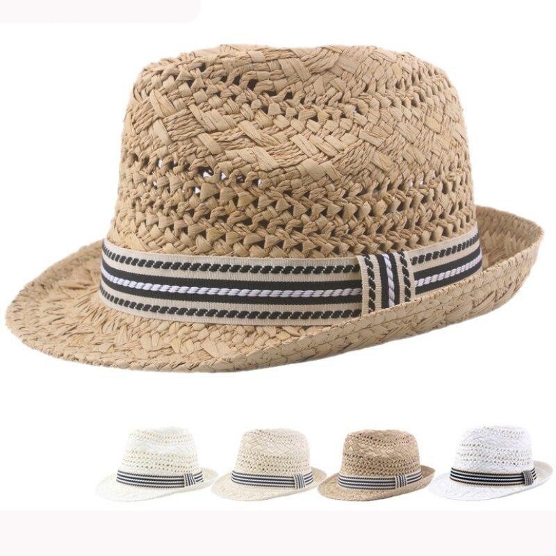 HT3137 Summer Sun Hat Men Women Crochet Straw Hat RetroTrilby Jazz Fedora Hat Unisex Breathable Beach Cap Male Female Beach Hat
