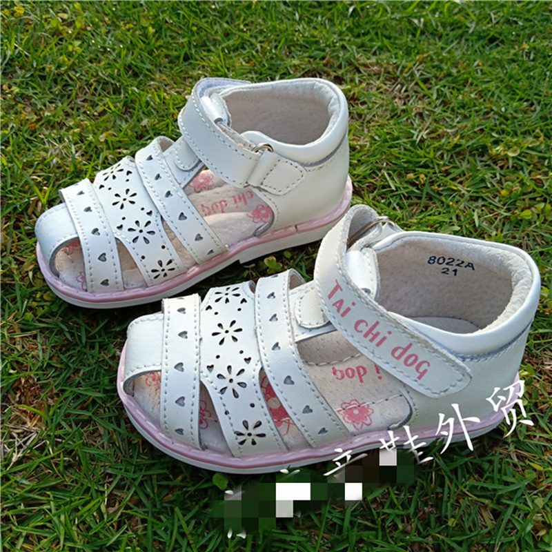 Summer 1pair Girl Genuine Leather Orthopedic Shoes Arch Support Children Leather  Kids Sandals