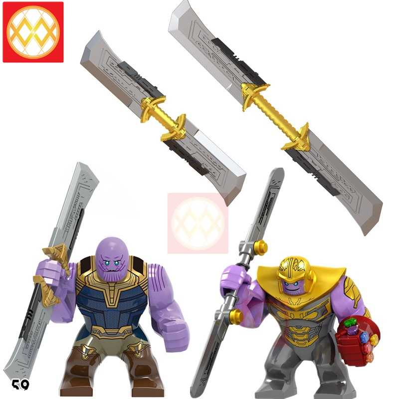 Avengers Endgame Thanos อาวุธ Edged Sword Iron Man Hulk Infinity Gauntlet Thor สงคราม Building บล็อกอาคารของเล่นของขวัญ