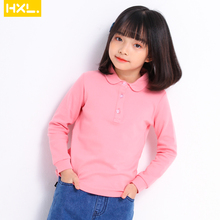 2020 Girls Solid Spring Autumn Polo Shirts Cotton Thin Long Sleeve Peter-pan Collar Buttoned Tops Tees School Children Clothing long sleeve girl chiffon blouse spring autumn kids peter pan collar back to school blouse and shirts for teeange girls 12 years