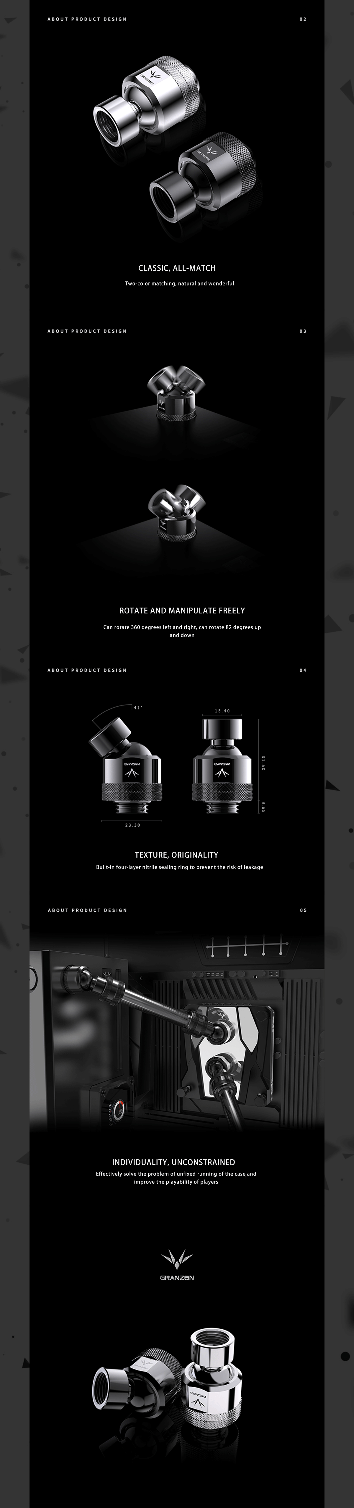 Granzon GD-X Freely Rotate Degree Fitting , Black Silver 360° Rotary G1/4'' Thread Universal Water Cooling Adaptor