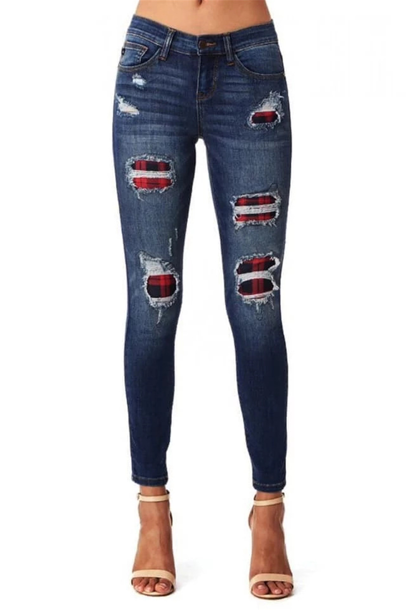 USA Women Ripped Elastic Jeans Stylish Spain Strecth Full Pencil Plaid Jeans Women Winter Pop Lady High Waist Hole Trousers