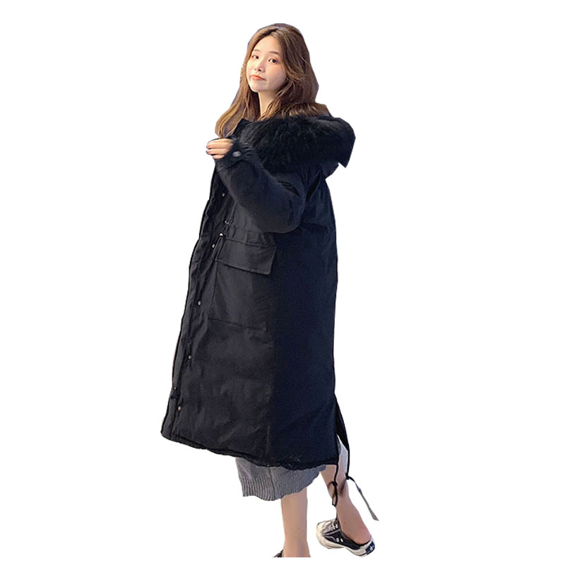 Chic Fur   Coat   Hooded Winter   Down     Coat   Oversized Warm Jacket Long Slim Women Cotton padded Wadded Parkas female jacket