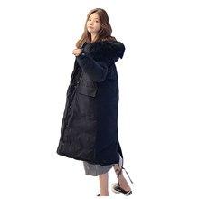 Chic Fur Coat Hooded Winter Down Coat Ov