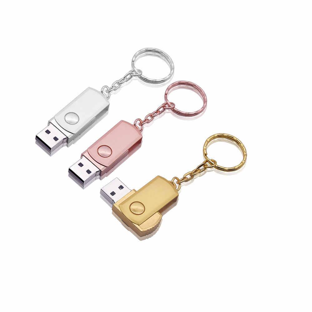 محرك فلاش USB USB معدني صغير 2.0 القدرة الحقيقية بندريف 4gb 8gb 16gb 32gb محرك فلاش حملة القلم مع حلقة رئيسية شعار مخصص الهدايا