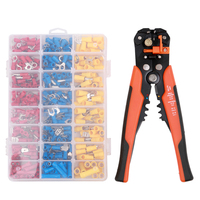 Electrical Wire Crimp Connector Terminal Crimping Tool Kit with 5 in 1 Automatic Wire Stripper Crimper and 400pcs Connectors Terminals     -